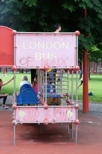 There was a cute playground inside Parc Jean Baptiste Lebas, including a London Bus, much to our amusement.