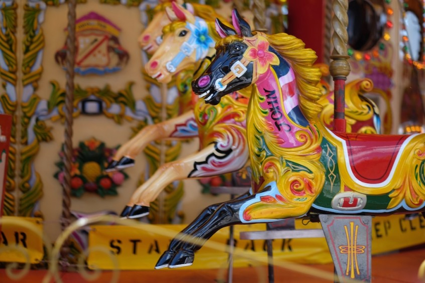 We took a ride on this gorgeous old-fashioned carousel.